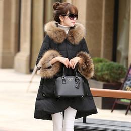 Wholesale Womens Real White Fur Coat - 100% Real Raccoon Fur Collar 2017 Down Parka 90% White Duck Down Jacket Womens Winter Jackets And Coats For Winter Jacket Women