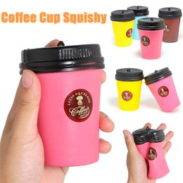 Wholesale Coffee Decorations - Squishies Toy Fidget Slow Rising Kawaii Gucio Squeezies Relaxation Coffee Cup Simulation Pretty Child Decoration Scent Freeshipping SQU020