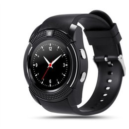 sistemas de cámaras Rebajas Hot V8 Smart Watch Bluetooth SmartWatch con cámara 0.3M SIM IPS HD Full Circle Display Reloj inteligente para Android con caja