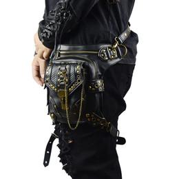 Argentina Bolso de la cintura Steampunk Bolsa Retro Rock Gothic Fanny Bag Pack Hombro Vintage Men Women Pierna de cuero 2017 Lauched exclusivo cheap woman bags exclusive Suministro