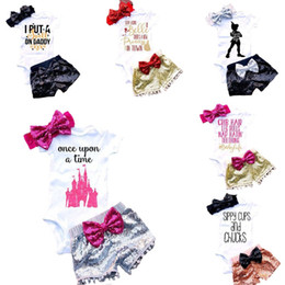 Wholesale three piece infants outfits - baby outfits for girl Letter Infant Rompers Sets Newborn Clothing Sets Kids triangle jumpsuit +paillette shorts+bow Hair band 3pcs set C1524