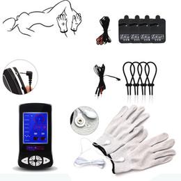 Brinquedos chocantes on-line-Kits de Choque elétrico Eletrodo Luva Almofadas de Massagem Anéis Do Pénis Estimular Brinquedos Temáticos Médicos Massagem Colar SM Play Sex Toys Para Homens