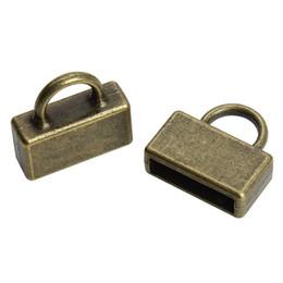 Tampas metálicas de extremidade on-line-20 pcs Antique Bronze / Prata Cor Metal End Caps Montagem 10 * 2mm Cordão de Couro Chato Pulseira Colar Conectores de Jóias F3769