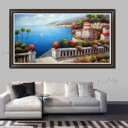 Wholesale Oil Painting Frame Knife - Handmade Wall Art Modern Home Decoration Beautiful Sea Mediterranean Landscape Oil Painting Knife Painting On Canvas(No Frame)