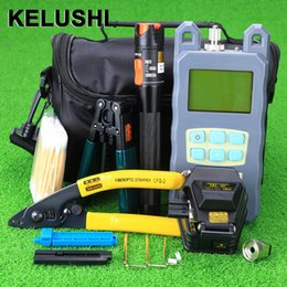 outils ftth Promotion KELUSHI 20pcs Ftth Fibre Tool Kit 10mW Visual Fault Lcator Avec SKL-6C fibre optique cleaver et outil de coupe décapant
