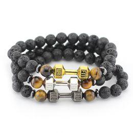 "Wholesale Indian Lucky - 8'' (20cm) 8-8.5mm Fashion ""Fit Life"" Dumbbell Lava Stone Lucky Bracelet Natural Lave Stone Bracelets Yoga Bracelets Jewelry"
