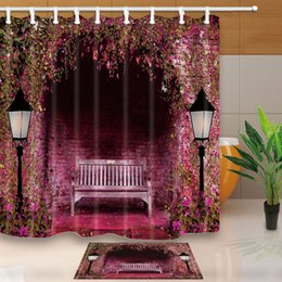 Wholesale Bathroom Benches - Warm Tour Park bench Bathroom Fabric Shower Curtain Sets Waterproof With 12 Hooks Rings 71*71inch