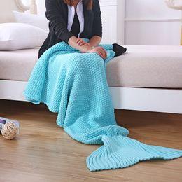 Filati per asciugamani online-Coperta sirena ispessimento coda di pesce filato di lana per maglieria aria condizionata coperte siesta divano tappeto carino morbido asciugamani 35ay4 gg