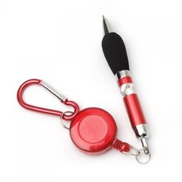 Wholesale Retractable Carabiner - Portable carry Red Retractable Badge Reel Ballpoint Pens Belt Clip & Carabiner Blue refill Stationery Ballpen Party favor