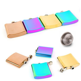 Wholesale Free Mini Cooper - 2018 New 6OZ Cooper color and rainbow color plate stainless steel hip flask with free funnel