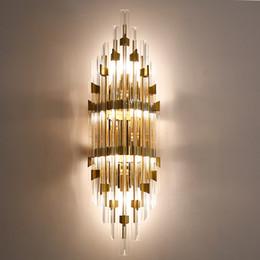 Роскошный благородный современный минимализм светодиодные настенные светильники творческий кристалл американский европейский проход фоновые настенные светильники кровать голова спальня настенное освещение от Поставщики европейские кровати