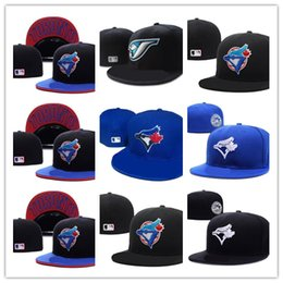 Wholesale Team Logo Baseball Hats - New Hot Men's Toronto Blue Color fitted hat flat Brim embroiered blue jays team logo fans baseball Hat Blue Jays full closed Chapeu brands