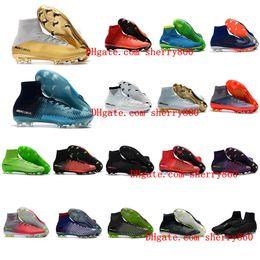 Wholesale boys high tops shoes - 2018 womens soccer cleats mercurial superfly CR7 Quinto Triunfo FG soccer shoes boys mens high top football boots kids neymar ronaldo