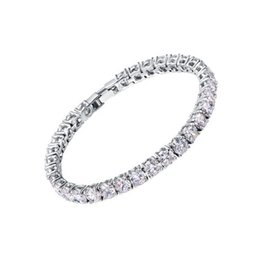 Wholesale white zircon ring gold - 2018 Zircons Bridesmaids Luxury CZ Crystal Jewelry Brilliant 6mm Big Round Cut Cubic Zircon Tennis Bracelet For Women