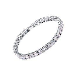 Wholesale 6mm Crystals - 2018 Zircons Bridesmaids Luxury CZ Crystal Jewelry Brilliant 6mm Big Round Cut Cubic Zircon Tennis Bracelet For Women