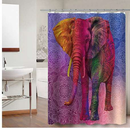 Wholesale modern curtains designs - FOKUSENT New Design Print Mandala Colorful Elephant Pattern Figure Factory Custom Polyester Bathroom Fabric Shower Curtains