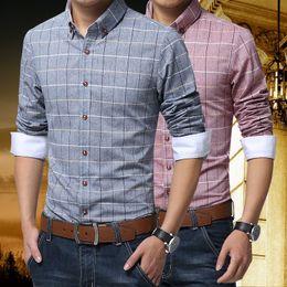 Wholesale Mens Linen Shirts - mens Shirts New 2018 Spring Casual Men Shirt Cotton Linen Mens Dress Shirt Slim Fit Plaid Shirt Long sleeve Camisas MC127