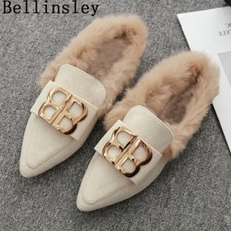 034c1a09515 2019 Autumn Winter Women Home Shoes Sexy Pointed Toe Flat Women Slippers  Slip On Metal Decoration Plush Loafers Mules Flip Flops