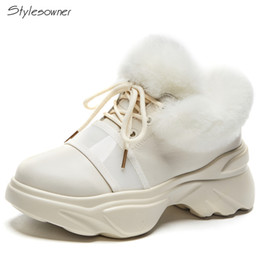 d164970890fc wholesale Women Lace Up Fur Ankle Boots High Top Thick Sole Platform  Sneakers Fluffy Warm Winter Snow Boots Round Toe Shoes
