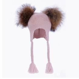 Wholesale Crochet Bonnets - Winter Baby girls knited hat kids double pompons hats children twist braid ears bonnet hat high quality kids wool blends crochet hats R2171