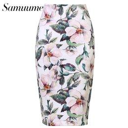 Wholesale Tube Knee Length - Samuume New Arrivals Women Fashion Floral Print Midi Skirt Simple Lady Tube Bodycon Office Pencil Skirts Saia Femininas A1705063