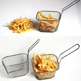 Bratkörbe online-Neue Klassische Frying Basket Kitchen Tools Galvanisieren Edelstahl Mini Frying Basket Mesh Korb Sieb Net