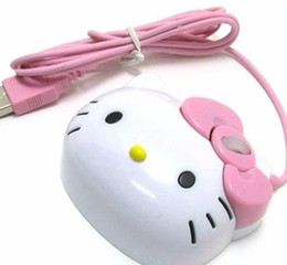 Usb ciao online-Wholesale-Wholesale Dropship 3D Hello Kitty Wired Mouse USB 2.0 Pro Gaming Mouse Mouse ottico per PC