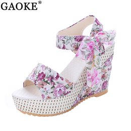 Wholesale Wholesale Platform High Heels - Fashion Women Sandals Summer Wedges Women's Sandals Platform Lace Belt Bow Flip Flops open toe high-heeled Women shoes Female