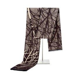 Wholesale Neckerchiefs For Men - Men Printed Tree Scarves Male Winter Tassel Neckerchief Fashion Fringed Warm Scarf For Male Luxury Designer Top Quality Scarves