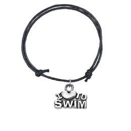 Schwimmen schmuck online-Minimale justierbare Wachslinie Armband-Zink-Legierungs-Buchstabe Ich liebe, Wort-Sport-Charme-Armband-Schmucksachen 5pcs / lot 8 Farben für Mädchen / Jungen zu schwimmen