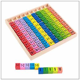 Wholesale wood toy patterns - Multiplication Table Math Toys 10x10 Double Side Pattern Printed Board Colorful Wooden Figure Block Kids Novelty Items CCA9496 60pcs