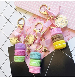 Wholesale Ribbon Cake - Novetly Alloy Gold Plated Keychains Sweet Macaroon Cake Eiffel Tower Silk Ribbon Keyring Creative Metal Car Ornament Buckle 4 28zk Y