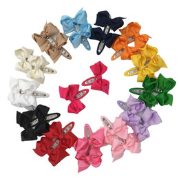 Wholesale Hair Bobby Pin Color - 28pcs Grosgrain Boutique Ribbon Bows With Bobby Pin For Hair Clips Hair Pins Hair Accessories