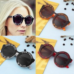 Wholesale Cute Frames - Wholesale-New Vintage round frame Goggles English letters Cute sunglasses fashion and personality cross my heart new hot selling