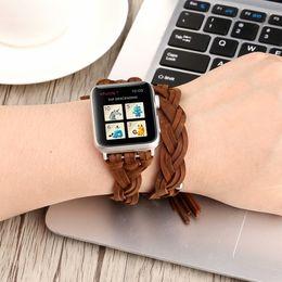 correa de reloj verde rojo Rebajas Pulsera hecha a mano de reloj de cuero genuino serie 1 2 3 38 / 42mm Marrón Negro Rojo Verde Pulsera Loop.