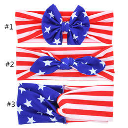 Wholesale Flag Stars - 2018 Baby American Flag euro stars stripe bowknot Headbands 3 Design Girls Lovely Cute Bow Hair Band Headwrap Children Elastic Accessories
