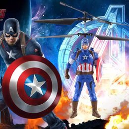 Wholesale fly rc - Led toys RC Helicopter RC infrared Inductio Captain America Hulk Spider-Man aircraft RC flying ball flying toys kids toys send by EMS
