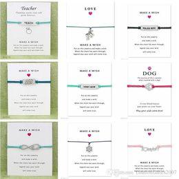 halloween tarjetas Rebajas Wish Pulsera Con Tarjeta de Regalo Dog Paw Love Unicorn Teacher Charm Bracelets Bangles for Women men Friendship Jewelry Jewelry Greeting Cards