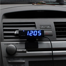Wholesale Automotive Clocks - Wholesale-Multiple Functions Car Thermometer Clock Voltmeter Automotive Interior and Exterior Temperature Meter Calendar Clock Universal