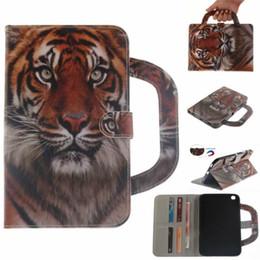 Tablet case para samsung galaxy tab 3 t310 T311 T315 Lidar Com Aleta Capa Carteira De Couro Colorido desenho Tigre Leão lobo
