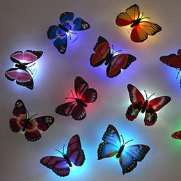 Wholesale Small Color Changing Led Lights - 2016 New Color Changing Cute Butterfly LED Night Light Home Room Desk Wall Decor