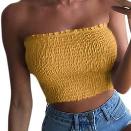 Wholesale Xl Tube Top - Short Women 2018 Spring T-shirts Sleeveless Solid Sexy Lady Tee Shirts Slash Neck Summer Elastic Tube Crop Tops Plus Size