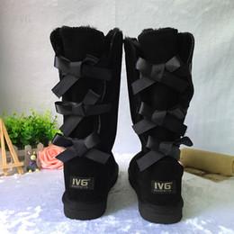 2020 estilos de corbatín Zapatos de invierno de mujer de alta calidad Navidad NUEVO Australia Classic bailey Style Mujeres Botas de nieve Invierno 3 Bowtie tall snow Booties us 5-10 estilos de corbatín baratos