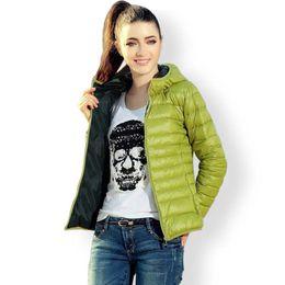 Wholesale Ladies Short Black Cotton Jackets - Autumn Jacket Women Thin Cotton-Pad Warm Slim Fit Parka Coat Ladies Hooded Collar Long Sleeve Down Wadded Coat Outwear YF75