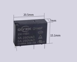 2019 relè di potenza in miniatura Fornitura di accessori elettronici Relè di potenza ad alta sensibilità HF46F a 4 piedi un gruppo di relè 5A250VAC normalmente aperto 24v