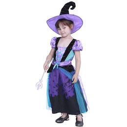 Çocuk Cadılar Bayramı Cosplay Kostüm Mavi Kale Cadı Elbise Çocuklar Performans Setleri Cadılar Bayramı Tatil Parti Mor Siyah Dantel Elbise ... cheap purple witch dress nereden mor cadı elbisesi tedarikçiler