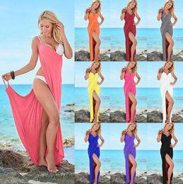 Wholesale ladies long cocktail dresses - Summer Swim Dress Bikini Wraps Sexy Women Lady Bandage Sleeveless Evening Party Cocktail Long Dress Beach Dress 10 Colors OOA4329