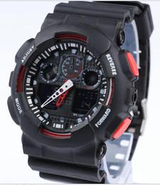 2019 мужские наручные часы Новый Горячий Красный двойной дисплей спортивные бегущие часы большой ga100 G Черный Дисплей LED Мода армия шокирующие часы мужчины Случайные Часы скидка мужские наручные часы