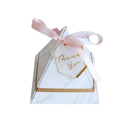 Wholesale wedding thanks cards - 100pcs Europe Style Candy Box Wedding Favors Party Supplies DIY Festival Party Paper Cards Gift Boxes with THANKS Card & Ribbon