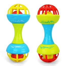 Wholesale Little Plastic Balls - Wholesale- 2017 Baby Toy Fun Little Loud Jingle Ball Ring Develop Baby Intelligence Training Grasping Ability Rattles Baby Toys 0-12 Months